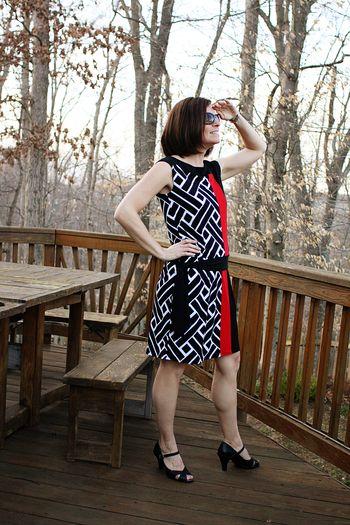 Black white red dress
